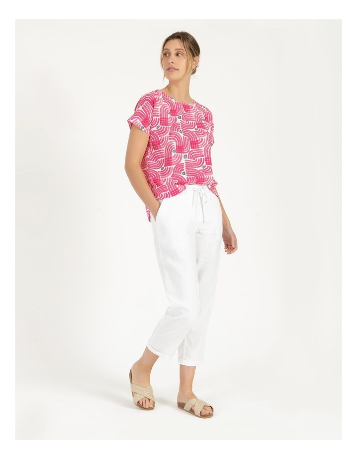 Extended Short Sleeve Curved Hem Top Pink/Ivory/Navy Swirl image 6
