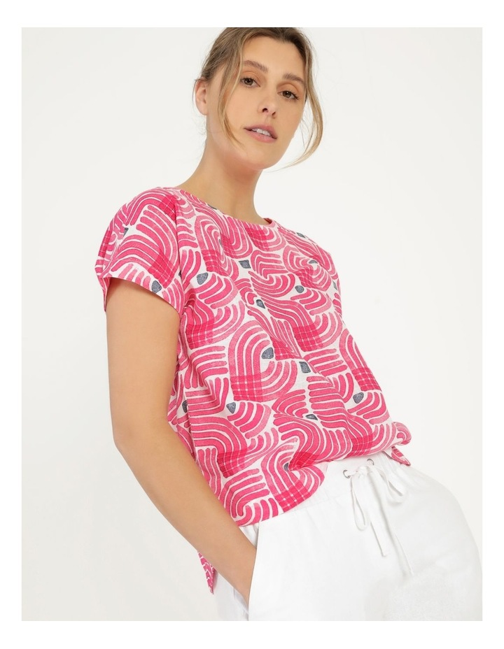 Extended Short Sleeve Curved Hem Top Pink/Ivory/Navy Swirl image 7