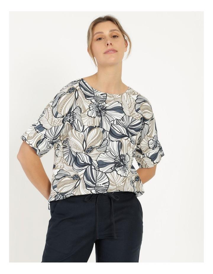 Extended Short Sleeve Cuff & Button Linen Blend Top Navy/Neutral Floral image 1
