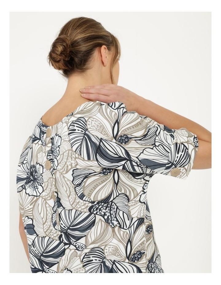 Extended Short Sleeve Cuff & Button Linen Blend Top Navy/Neutral Floral image 2
