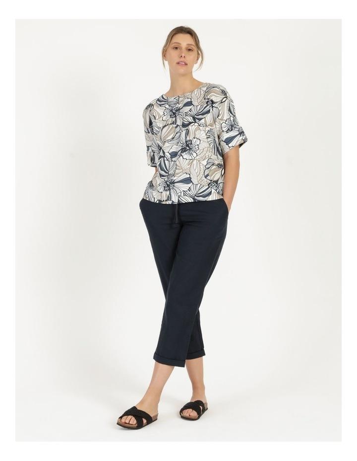 Extended Short Sleeve Cuff & Button Linen Blend Top Navy/Neutral Floral image 3