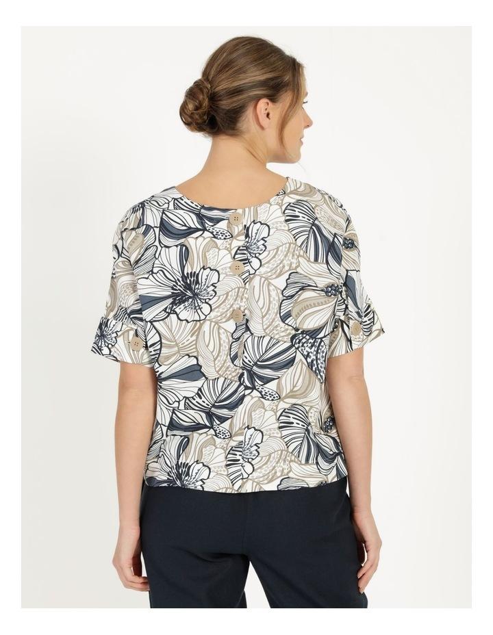 Extended Short Sleeve Cuff & Button Linen Blend Top Navy/Neutral Floral image 4