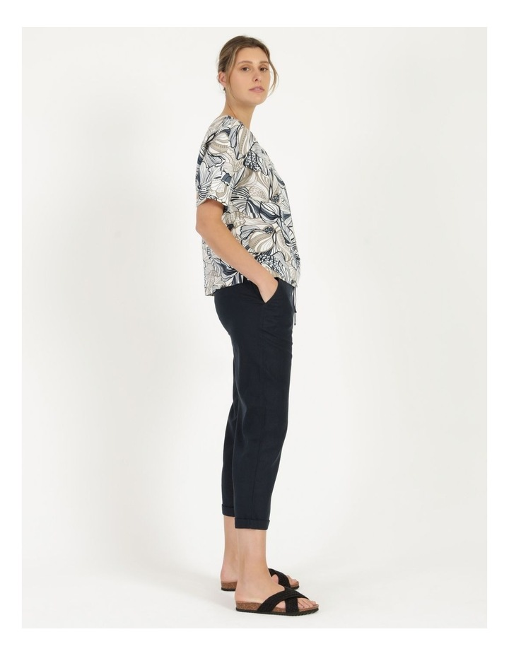 Extended Short Sleeve Cuff & Button Linen Blend Top Navy/Neutral Floral image 5
