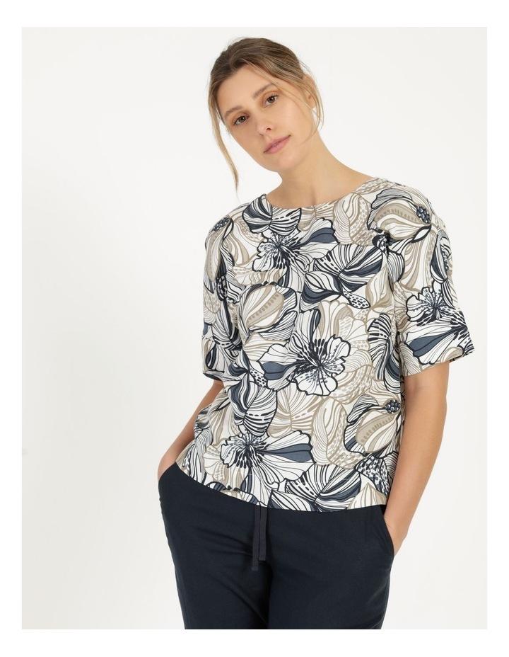 Extended Short Sleeve Cuff & Button Linen Blend Top Navy/Neutral Floral image 6