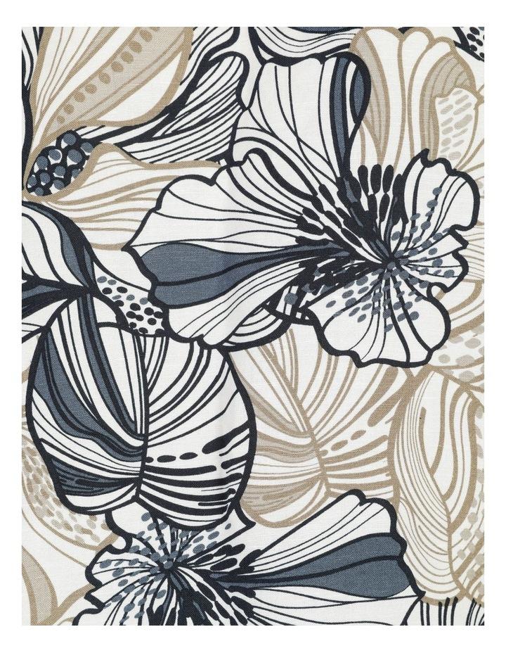 Extended Short Sleeve Cuff & Button Linen Blend Top Navy/Neutral Floral image 7