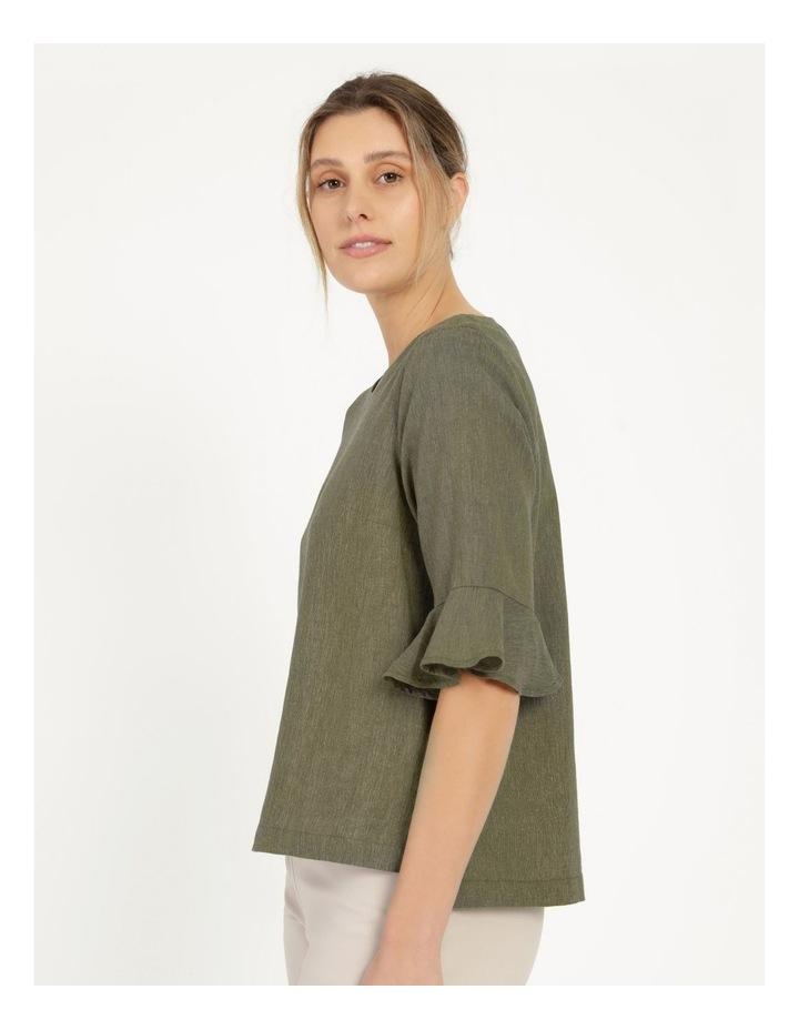 Fluted Short Sleeve Top Khaki/Navy Crossdye image 2