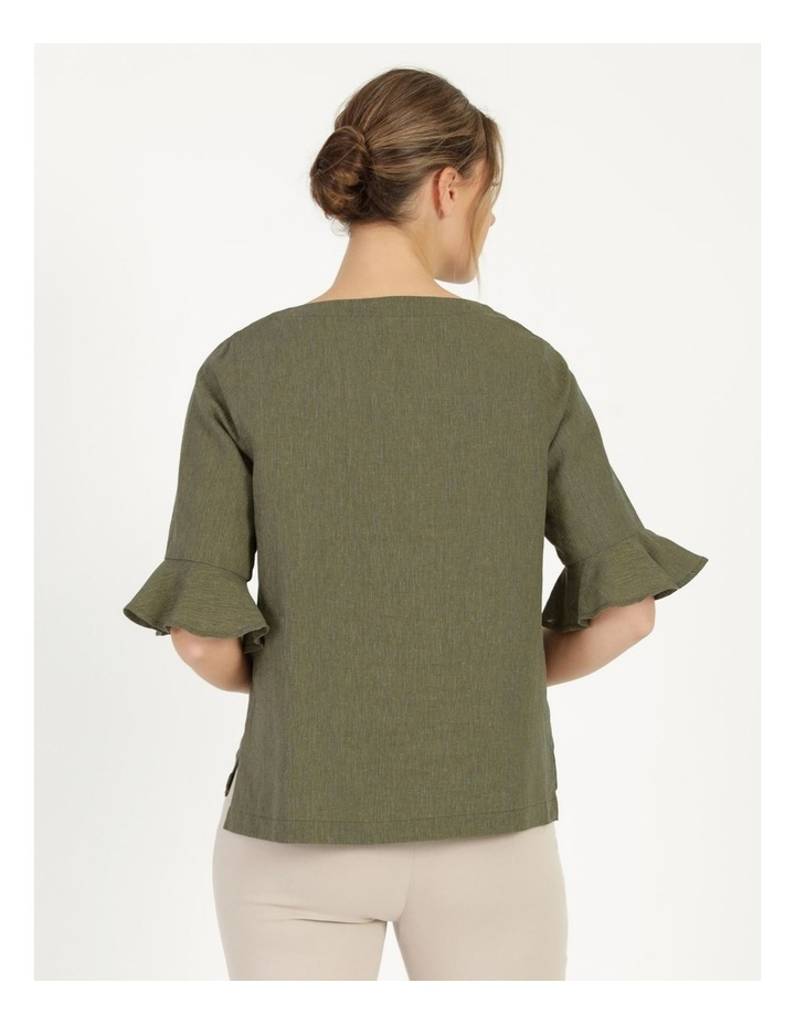 Fluted Short Sleeve Top Khaki/Navy Crossdye image 4