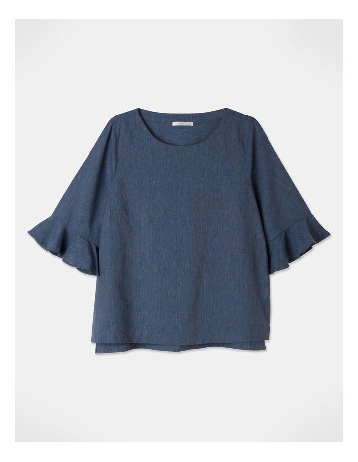 Fluted Short Sleeve Top Blue/Navy Cross Dye image 1
