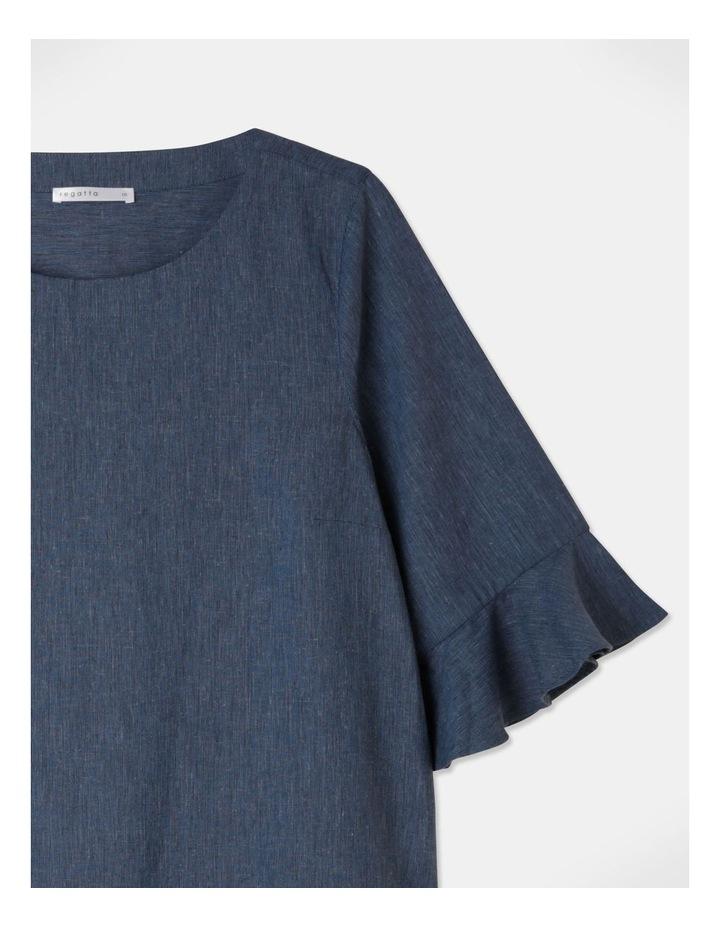 Fluted Short Sleeve Top Blue/Navy Cross Dye image 2