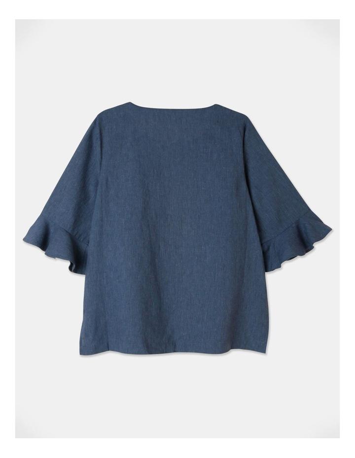 Fluted Short Sleeve Top Blue/Navy Cross Dye image 3