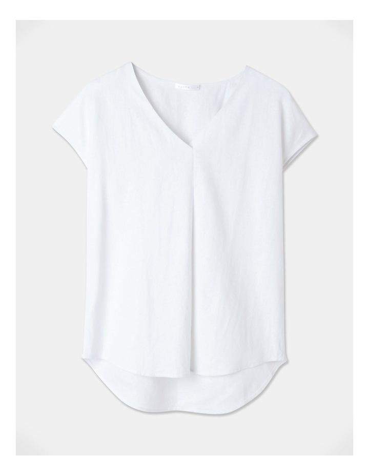 Extended Short Sleeve Linen Blend Woven V Neck Pleat Front Top White image 1