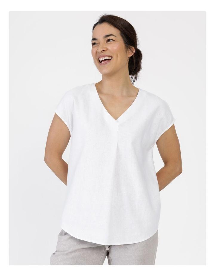 Extended Short Sleeve Linen Blend Woven V Neck Pleat Front Top White image 2