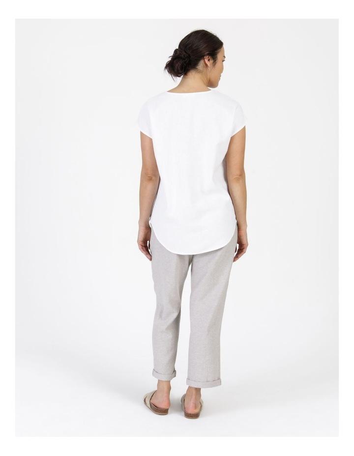 Extended Short Sleeve Linen Blend Woven V Neck Pleat Front Top White image 3