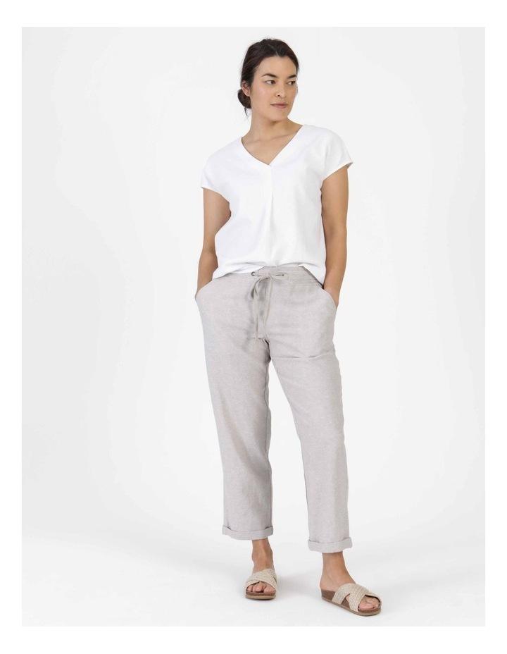 Extended Short Sleeve Linen Blend Woven V Neck Pleat Front Top White image 4