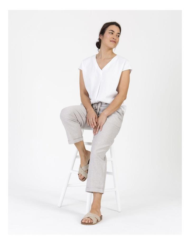 Extended Short Sleeve Linen Blend Woven V Neck Pleat Front Top White image 5