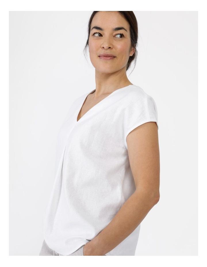 Extended Short Sleeve Linen Blend Woven V Neck Pleat Front Top White image 6