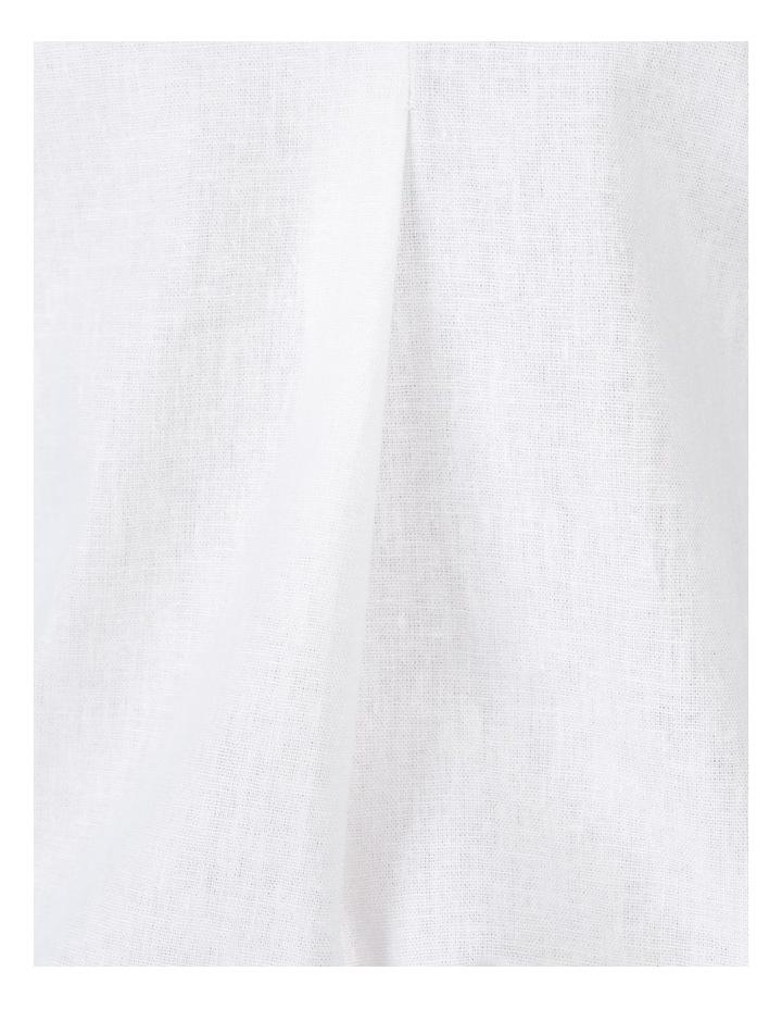 Extended Short Sleeve Linen Blend Woven V Neck Pleat Front Top White image 7