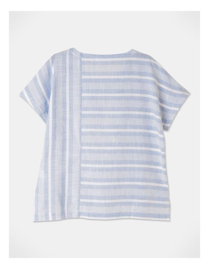 Multi Directional Stripe Ss Magyar Top Blue/White image 3