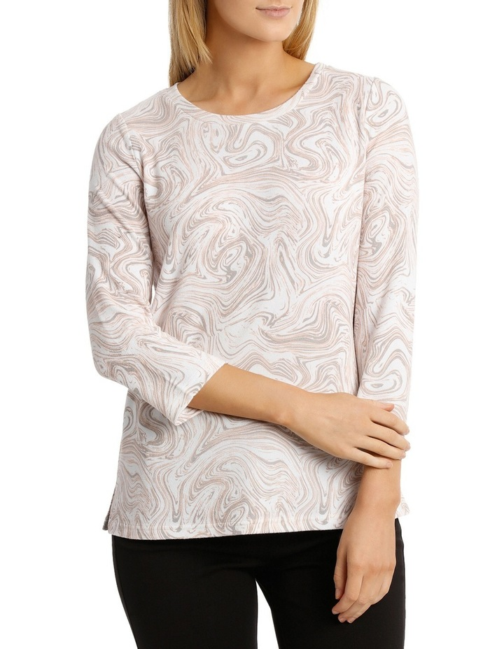 Marble Print Soft Touch 3/4 Sleeve Tee image 1
