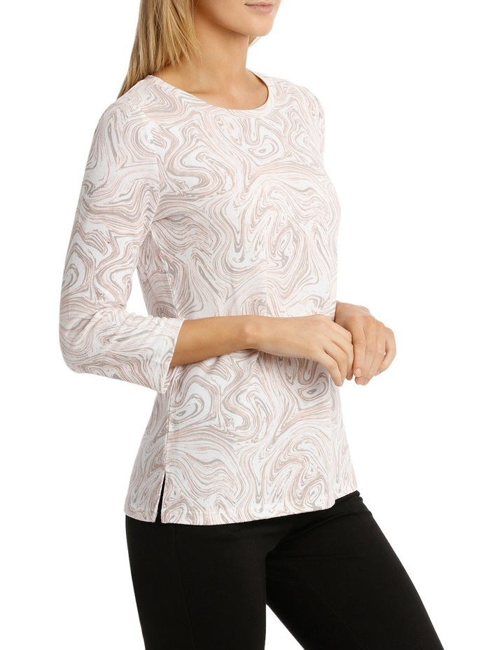 Marble Print Soft Touch 3/4 Sleeve Tee image 2