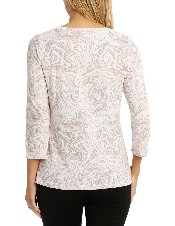 Marble Print Soft Touch 3/4 Sleeve Tee image 3