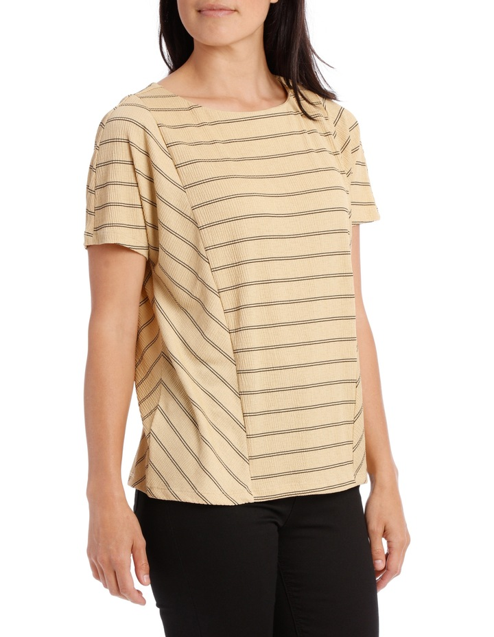 Dropped Shoulder S/S Insert Front Tee-Caramel Textured Stripe image 1