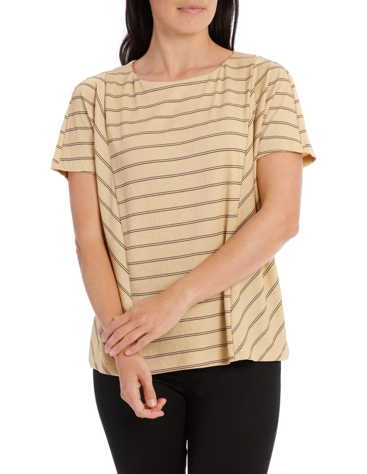 Dropped Shoulder S/S Insert Front Tee-Caramel Textured Stripe image 2