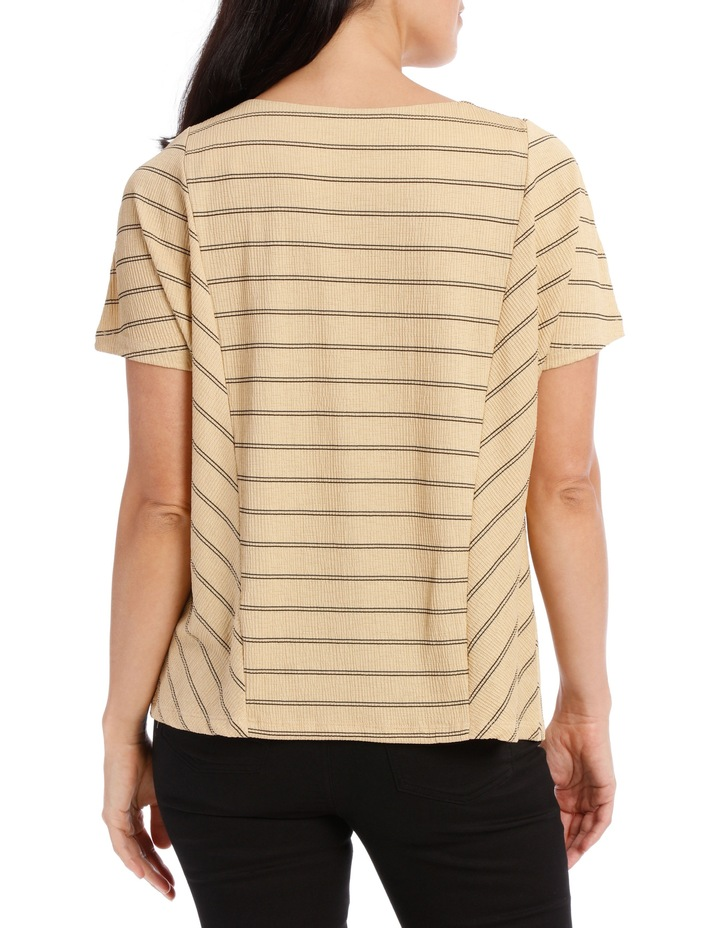 Dropped Shoulder S/S Insert Front Tee-Caramel Textured Stripe image 3