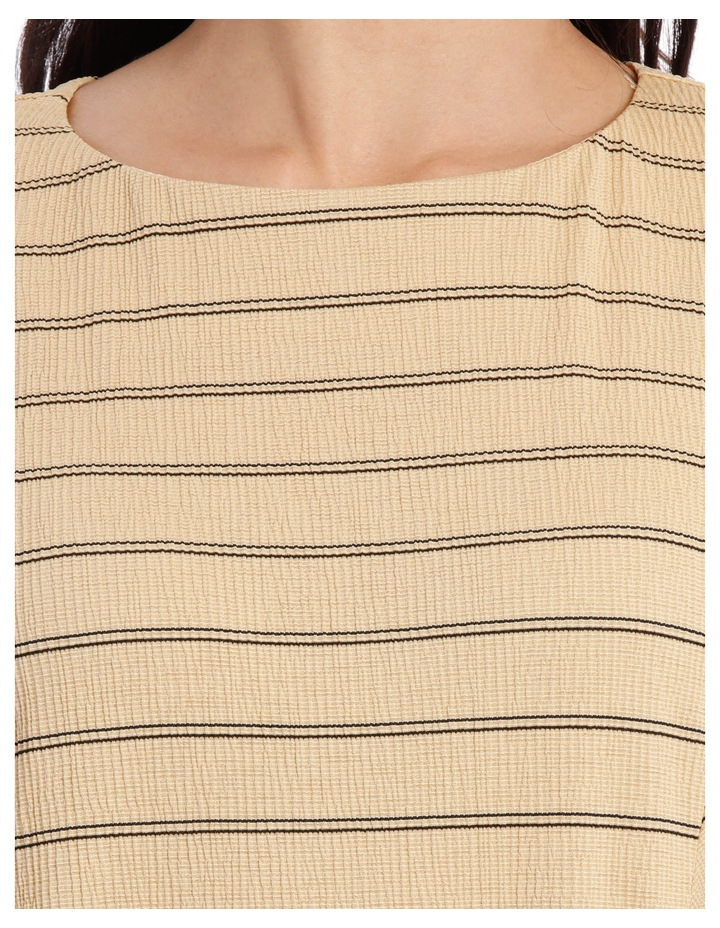 Dropped Shoulder S/S Insert Front Tee-Caramel Textured Stripe image 4