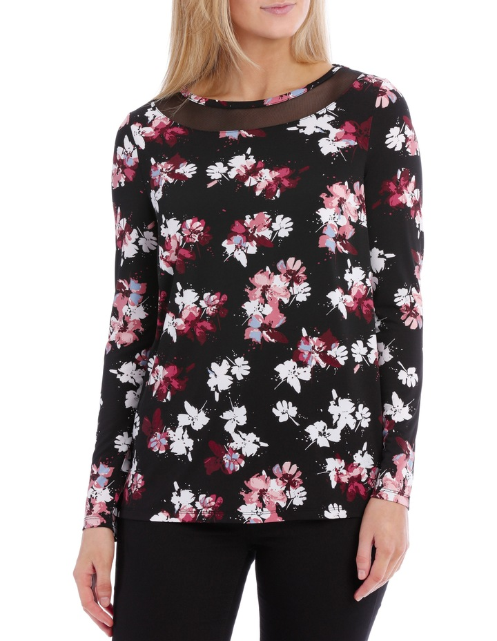 Mesh Insert Neck Long Sleeve Tee-Floral image 1