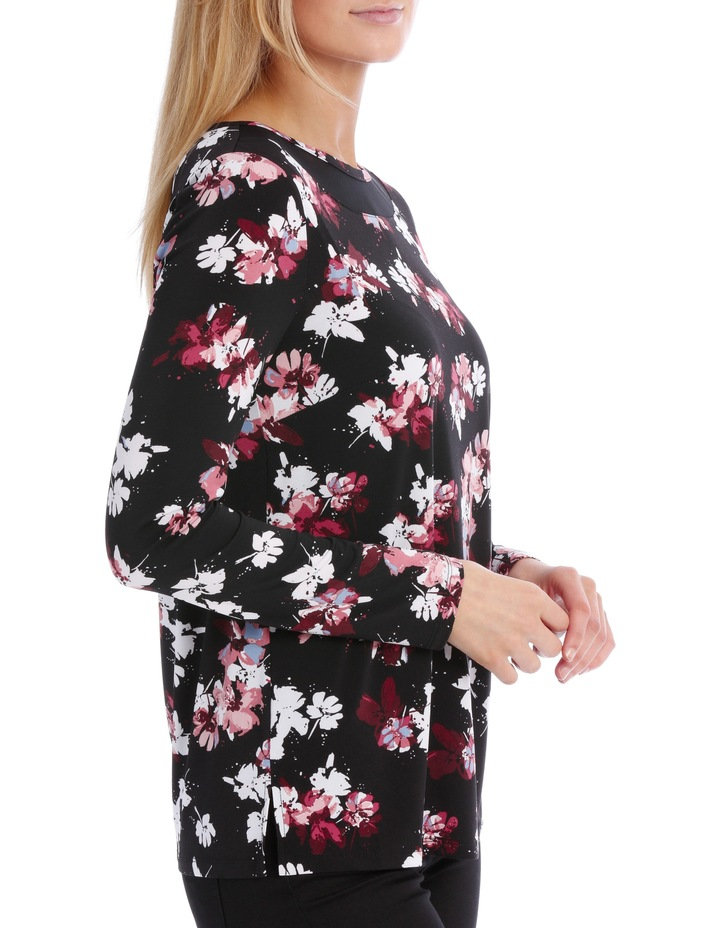 Mesh Insert Neck Long Sleeve Tee-Floral image 2