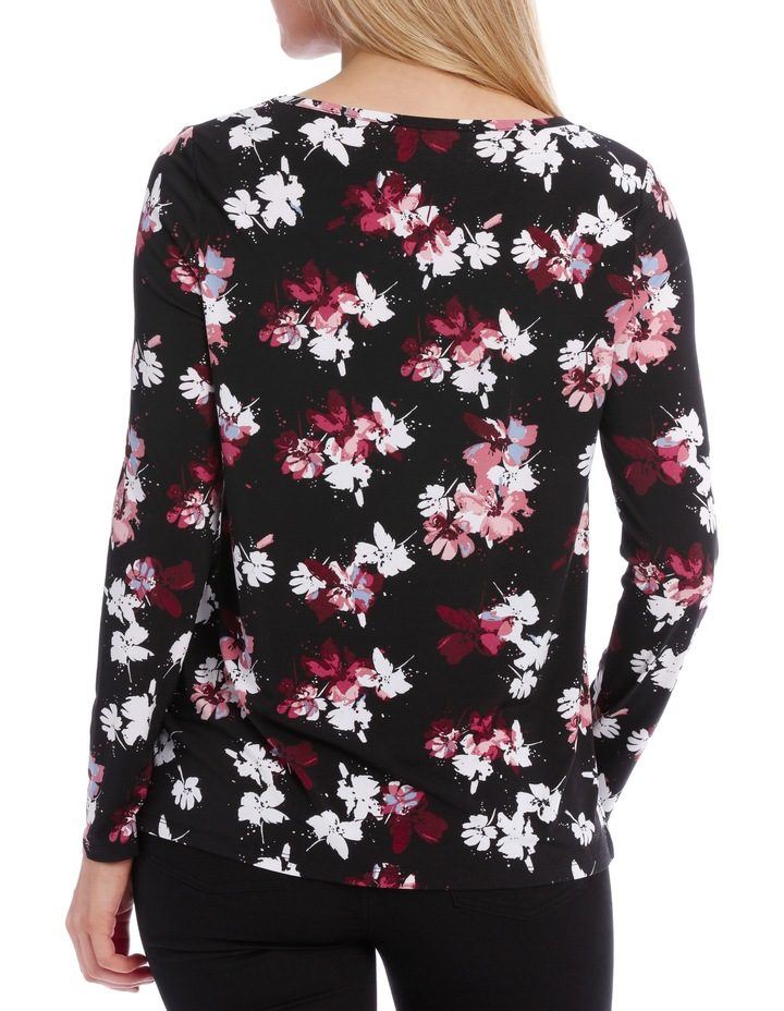 Mesh Insert Neck Long Sleeve Tee-Floral image 3