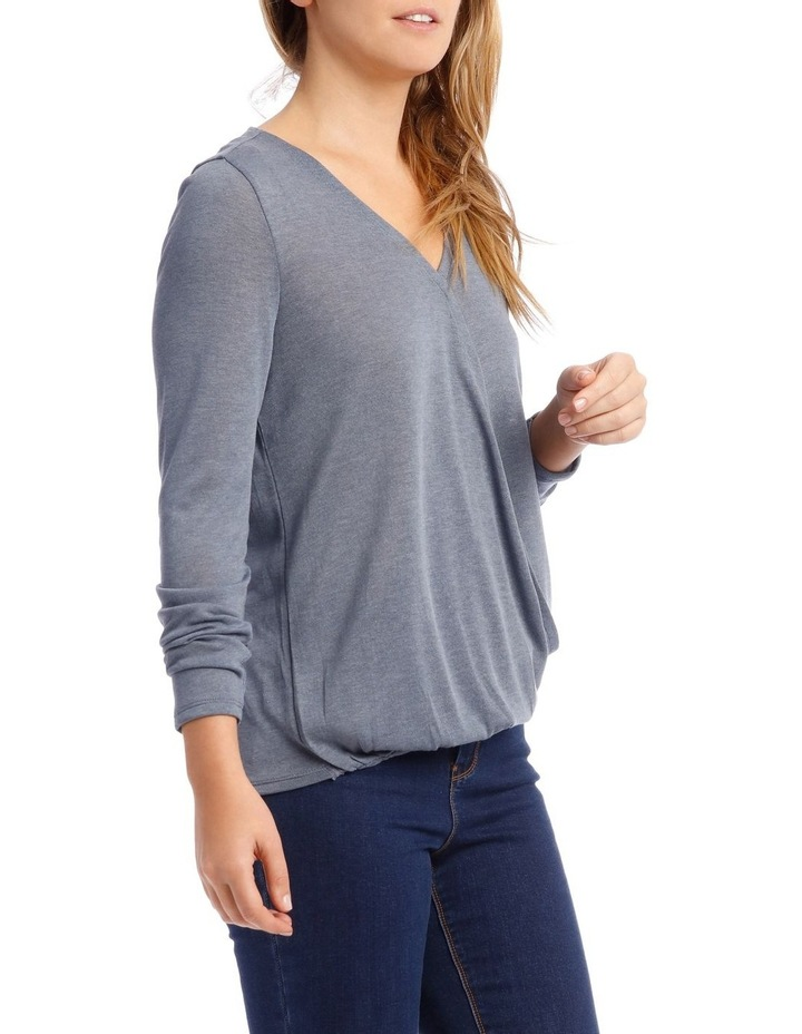 Cross Over Front Long Sleeve Marle Tee image 2