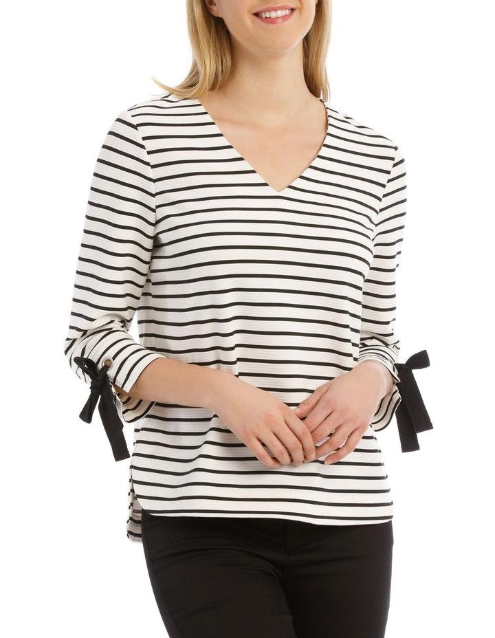 3/4 Tie Sleeve Textured Stripe Tee image 1