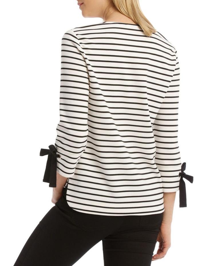 3/4 Tie Sleeve Textured Stripe Tee image 3