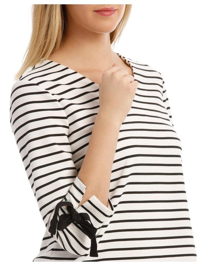 3/4 Tie Sleeve Textured Stripe Tee image 4