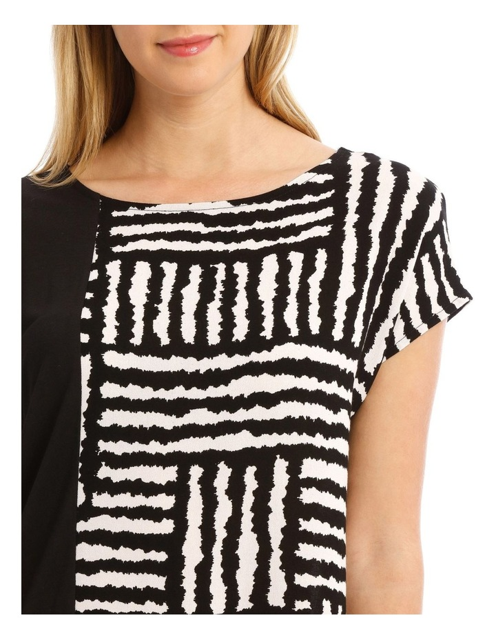 Extended Sleeve Spliced Knit/Woven Tee image 4