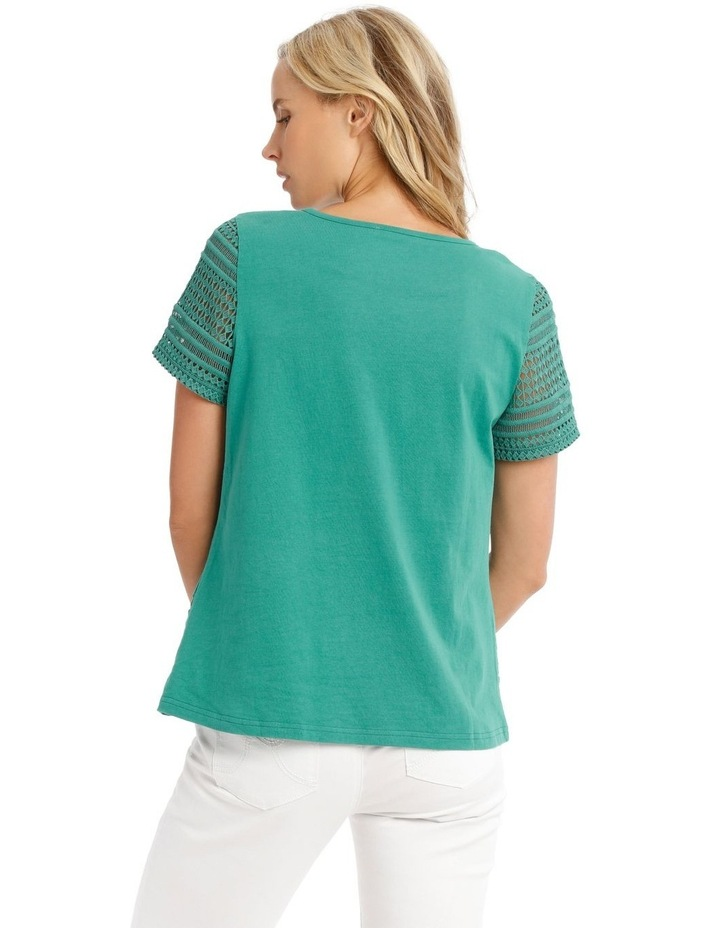 Woven Front Short Sleeve Knit Back Top With Lace Sleeves image 3