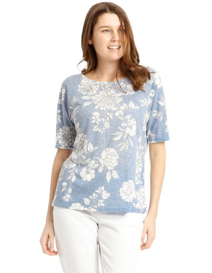 Short Sleeve Extended Shoulder Linen Tee image 1