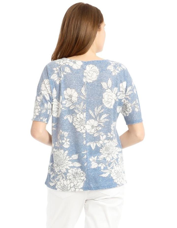 Short Sleeve Extended Shoulder Linen Tee image 3