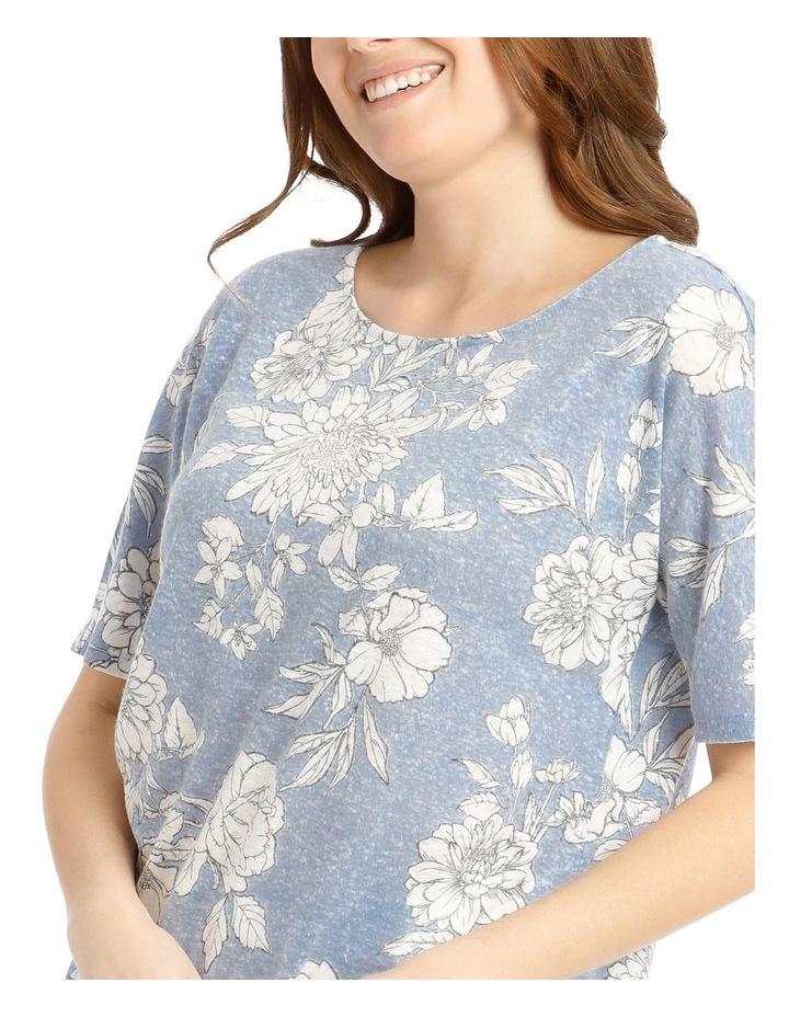 Short Sleeve Extended Shoulder Linen Blend Tee image 4
