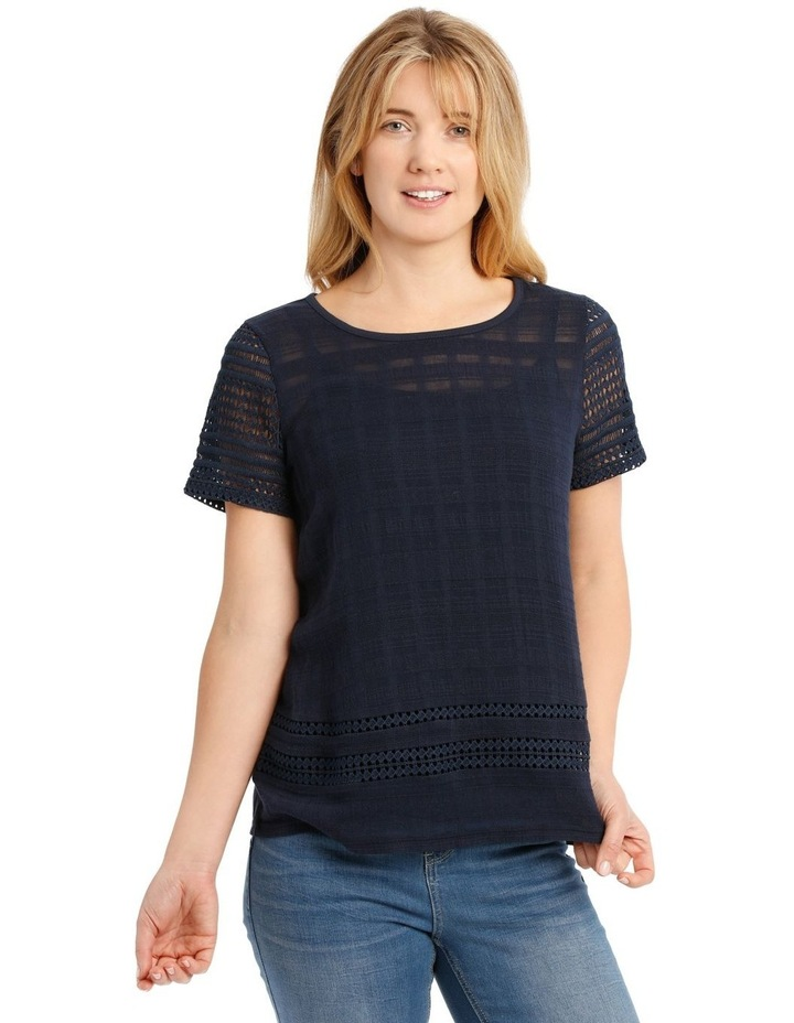 Woven Front Short Sleeve Knit Back Top With Lace Sleeves image 1