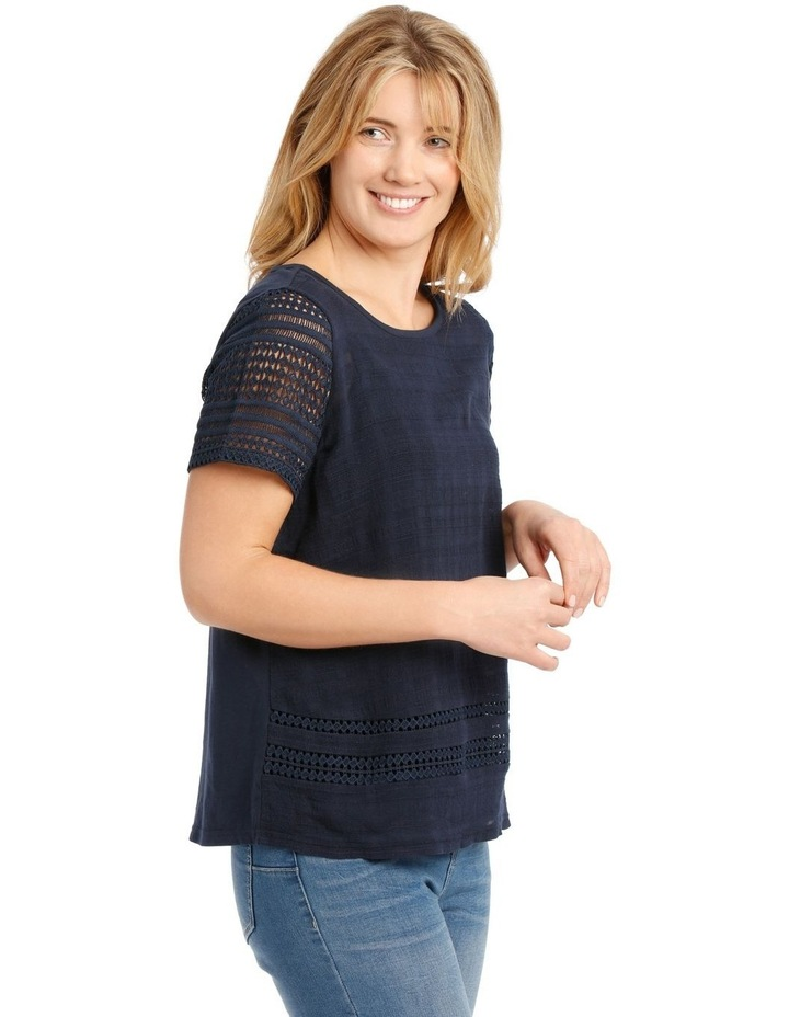 Woven Front Short Sleeve Knit Back Top With Lace Sleeves image 2