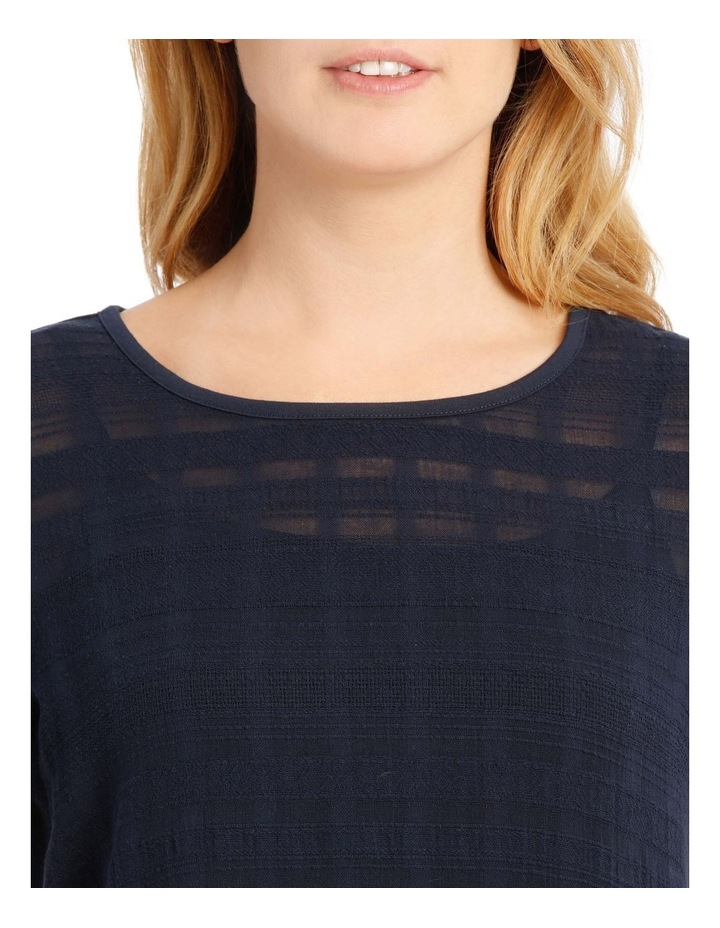 Woven Front Short Sleeve Knit Back Top With Lace Sleeves image 4