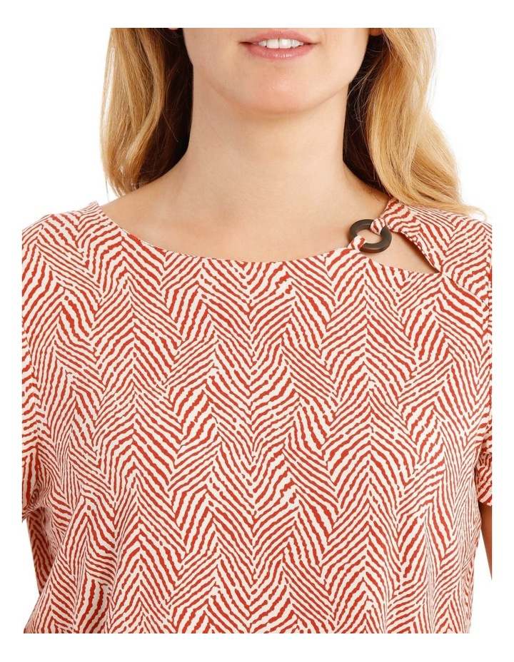 Short Sleeve Side Keyhole Tee With Fancy Ring Tee-Paprika Zebra Stripe image 4