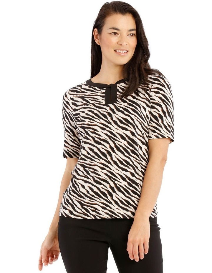 Short Sleeve Contrast Knot Neck Tee image 1