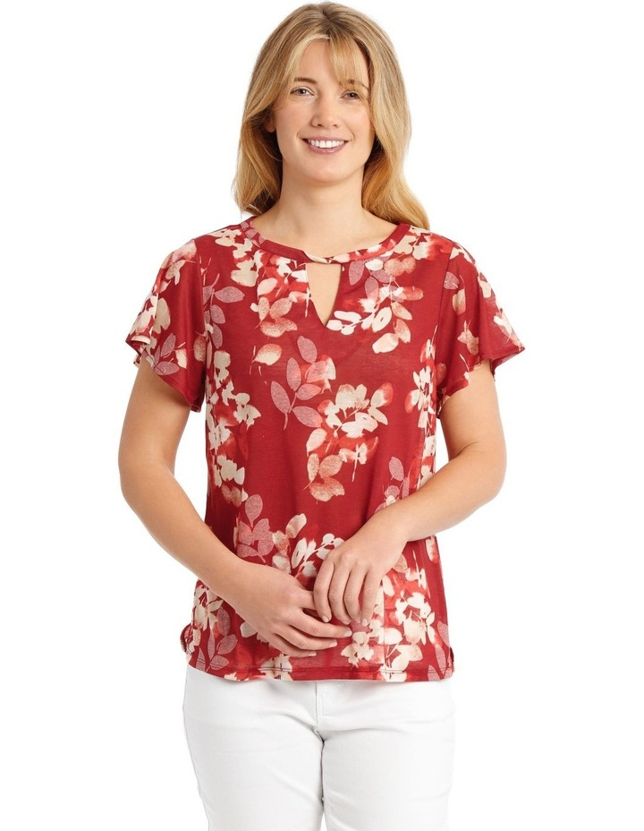 Twist Neck Burnout Tee With Flounce Sleeve-Cedar Spice Leaves image 1