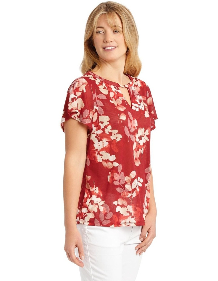 Twist Neck Burnout Tee With Flounce Sleeve-Cedar Spice Leaves image 2