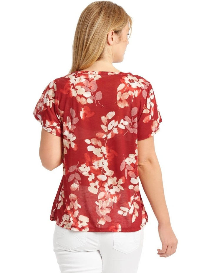 Twist Neck Burnout Tee With Flounce Sleeve-Cedar Spice Leaves image 3