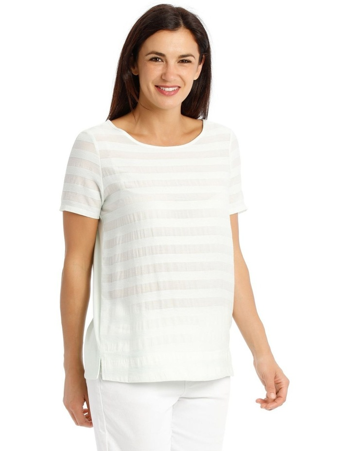 Textured Woven Front Short Sleeve Shell Tee With Knit Back image 2